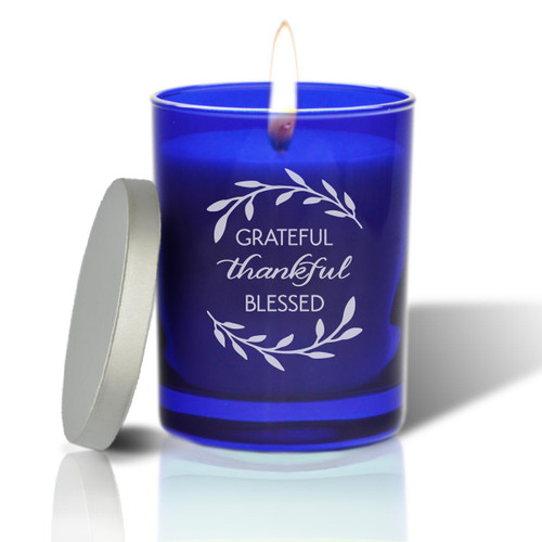 Sapphire Soy Glass Candle - Grateful Thankful Blessed