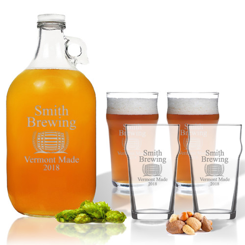 5 Piece Set: Growler  64 oz.  & Pub Glass  16 oz. (Set of 4) Personalized Brewing