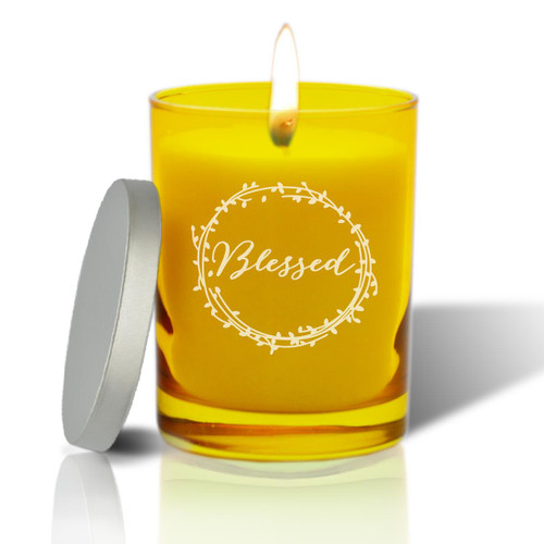 Citrine Soy Glass Candle - Blessed