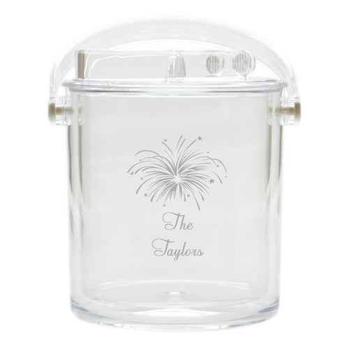 Personalized Insulated Ice Bucket with Tongs - Fireworks