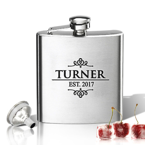 Stainless Steel Hip Flask (8 oz) Personalized to your desire.  Turner Design