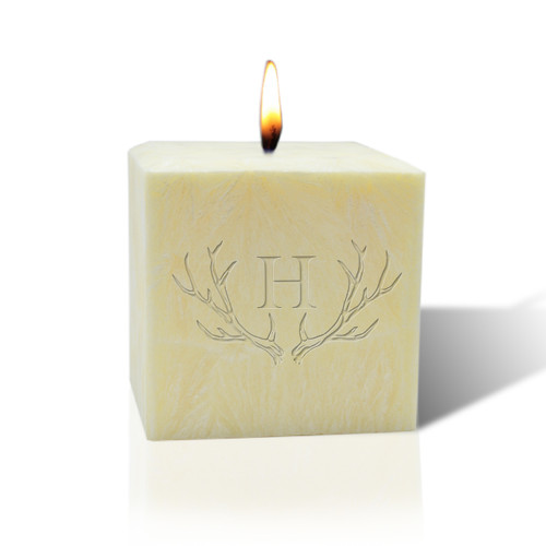 "3"" Pure Aromatherapy Palm Wax Candle - Antler with Single Initial"