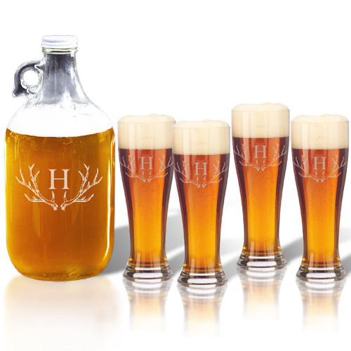 64oz GROWLER and PILSNER PINT GLASS SET OF 4 GLASSES: PERSONALIZED ANTLER MOTIF