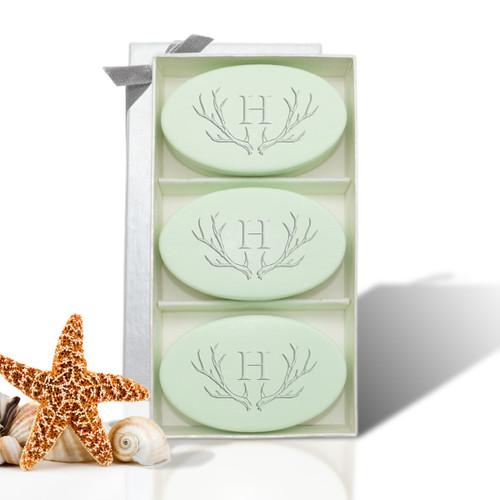 Signature Spa Trio - Green Tea & Bergamot: Antler with Single Initial