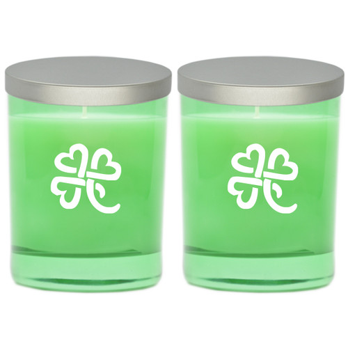 Emerald Soy Glass Candle - Heart Clover (Set of 2)