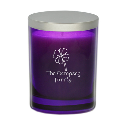 Amethyst Soy Glass Candle - Four-leaf Clover and Celtic Name