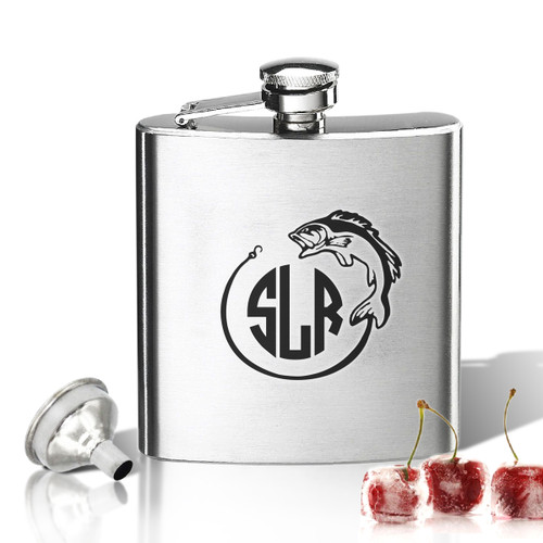 Stainless Steel Hip Flask (8 oz) Personalized to your desire.  Fish Monogram