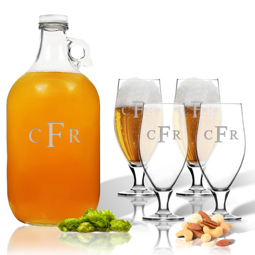 5 Piece Set: Growler  64 oz.  & Cervoise Glass  16.75 oz. (Set of 4) Personalized