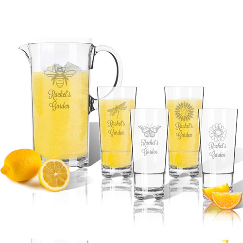 Entertaining Set: Tritan Pitcher and High Ball Glasses 16 oz (Set of 4): Garden w Names