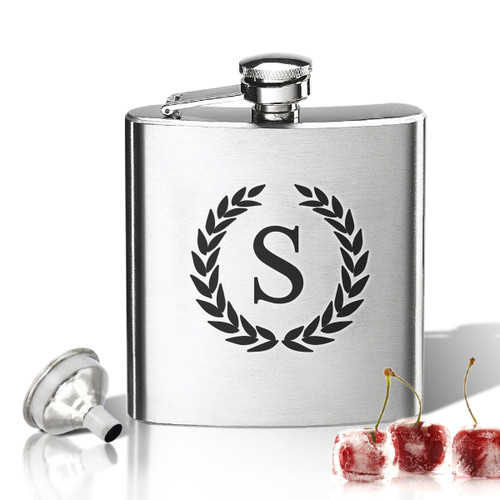Stainless Steel Hip Flask (8 oz) Personalized to your desire.  Initial Wreath