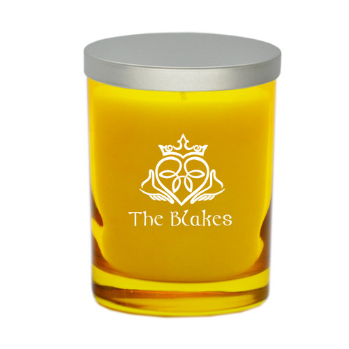 Citrine Soy Glass Candle - Claddagh and Celtic Name