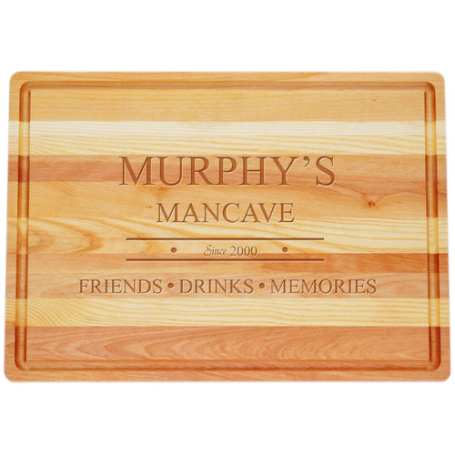 "Large Master Cutting Board 20"" X 14.5"" - Personalized Mancave"