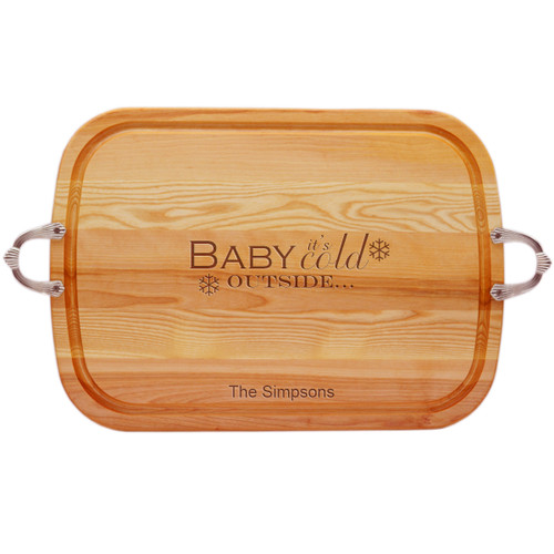 EVERYDAY COLLECTION: LARGE SERVING TRAY WITH NOUVEAU HANDLES PERSONALIZED BABY IT'S COLD