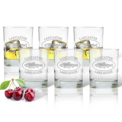 LAKE HOUSE: PERSONALIZED TROUT LAKE HOUSE OLD FASHIONED - SET OF 6 (GLASS)