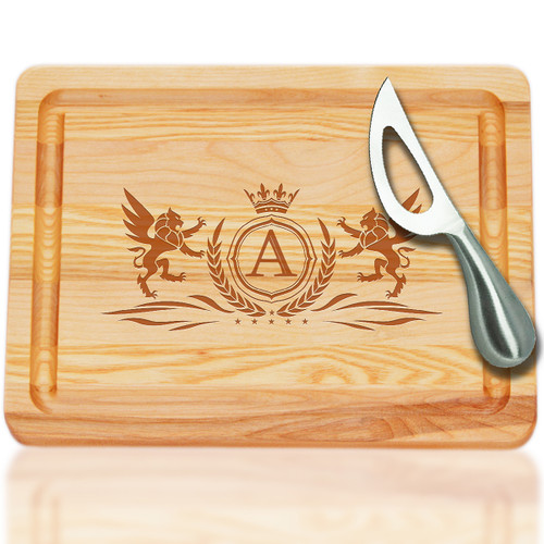 "Small Master Cutting Board 10"" X 7.5"" - Winged Lion with Initial And Knife"