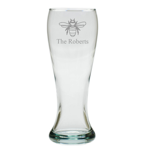 PERSONALIZED PILSNER GLASS: SET OF 4- BEE