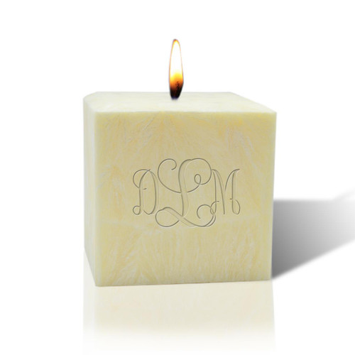 "3"" Unscented Palm Wax Candle - Monogram"