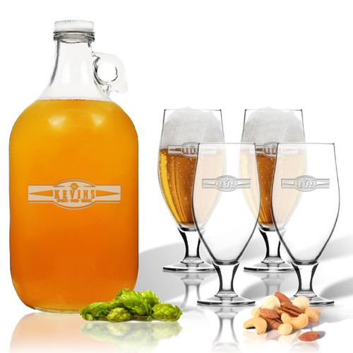 5 Piece Set: Growler  64 oz.  & Cervoise Glass  16.75 oz. (Set of 4) Personalized Sport Food Drinks