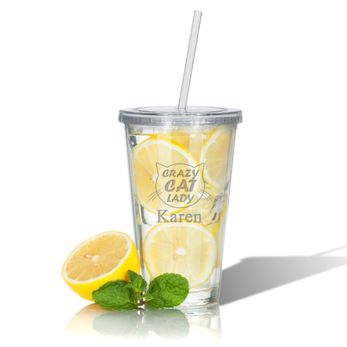 PERSONALIZED CRAZY CAT LADY DOUBLE WALLED TUMBLER WITH STRAW