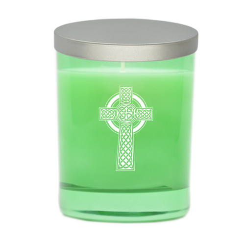 Emerald Soy Glass Candle - Celtic Cross