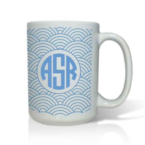 Personalized White Mug  15 oz.Asian Elements - Wild Blue LupinCircle Monogram