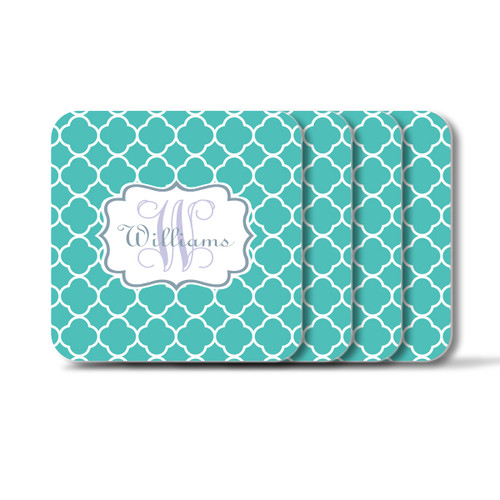 Personalized Square Coasters, Set of 4 - Moroccan Vine Initial and Name