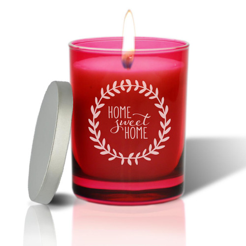 Ruby Soy Glass Candle - Home Sweet Home with Wreath
