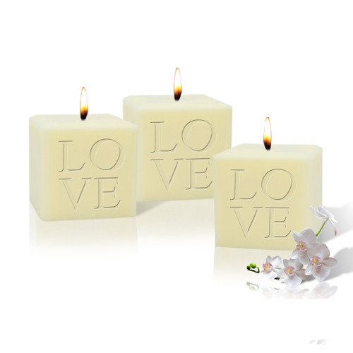 """3"""" Soy Pillar Candle - Love (Set of 3)"""