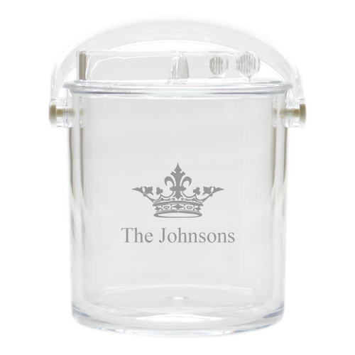 Personalized Insulated Ice Bucket with Tongs - Crown
