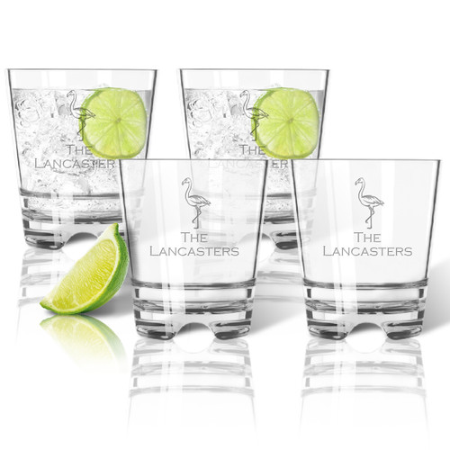 Flamingo Tritan Double Old-Fashioned Glass - Set of Four