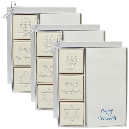 Eco-Luxury Courtesy Gift Set - Blue or Silver Hanukkah Mix (Set of 3)