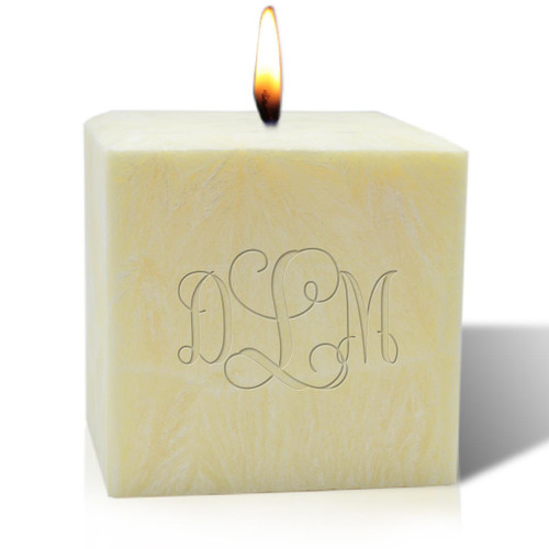 """4"""" Unscented Palm Wax Candle - Monogram"""
