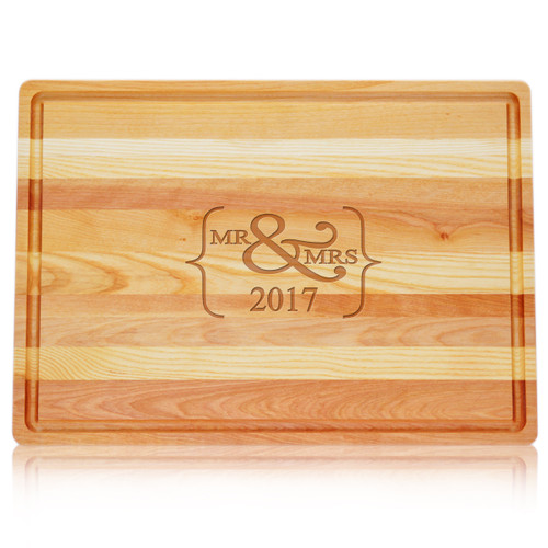 "Large Master Cutting Board 20"" X 14.5"" - Mr & Mrs 2017"