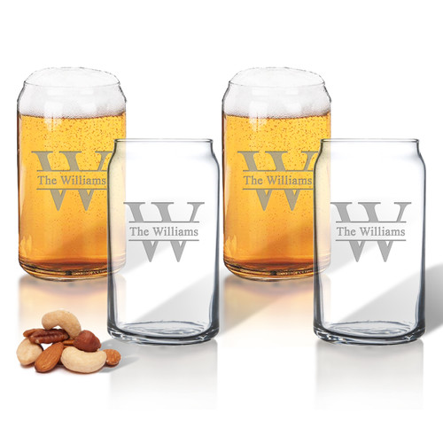 PERSONALIZED BEER CAN GLASSES GIFT SET: SPLIT LETTER