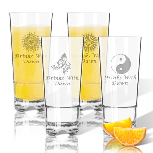Tritan High Ball Glasses 16 oz (Set of 4): Solstice with Name
