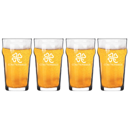 NONIC PINT GLASS SET OF 4 GLASSES: Heart Clover with Celtic Name