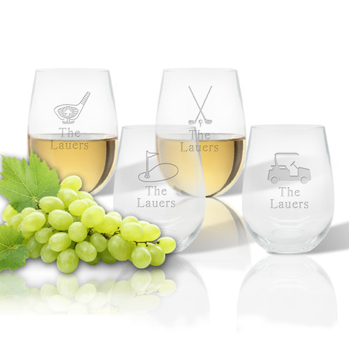 Stemless Wine Tumbler  (Set of 4): Golf  with name