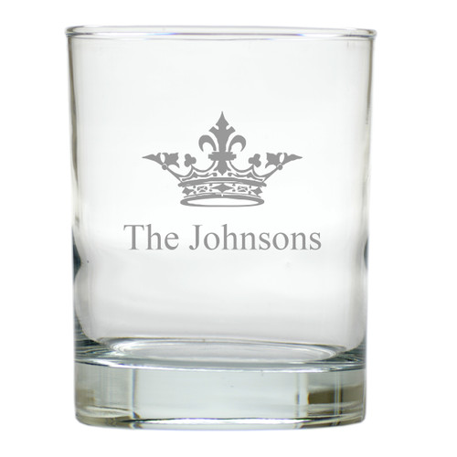 PERSONALIZED CROWN OLD FASHIONED - SET OF 4 (Unbreakable)