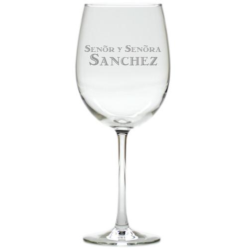 PERSONALIZED SENOR Y SENORA WINE STEMWARE - SET OF 4 (GLASS)