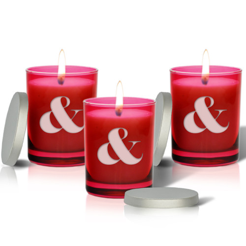 Ruby Soy Glass Candle - Large Ampersand Sign (Set of 3)