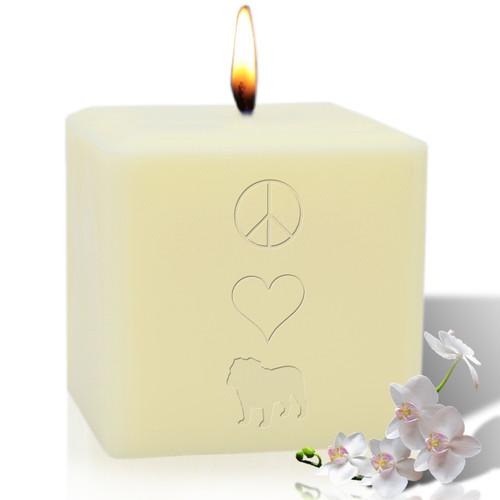 "4"" Soy Pillar Candle - Peace Love Bulldog"