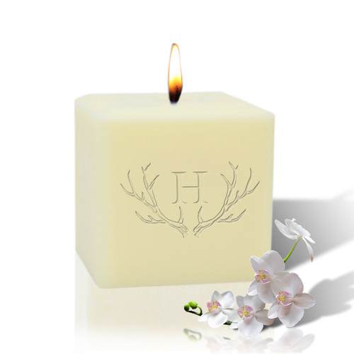 """3"""" Soy Pillar Candle - Antler with Single Initial"""