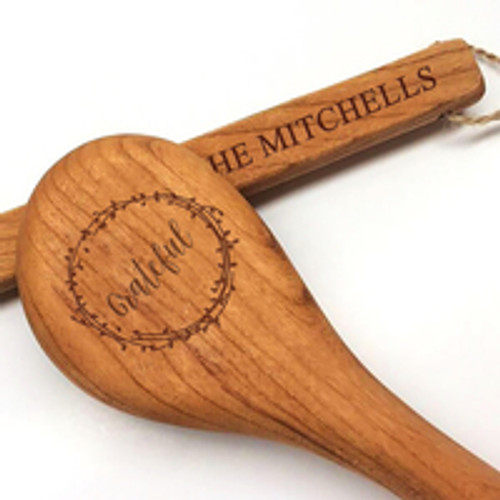 "15"" Cherry Wooden Spoon - Grateful Motif with Personalization"