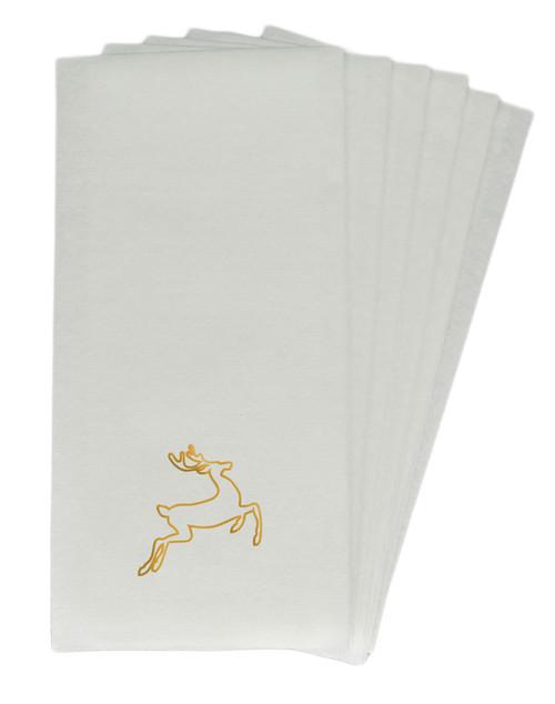 50 Linen-Like Disposable Guest Towels - Gold Deer