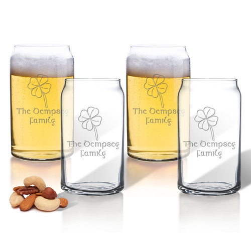 PERSONALIZED BEER CAN GLASSES GIFT SET: 4 Leaf Clover with Celtic Name