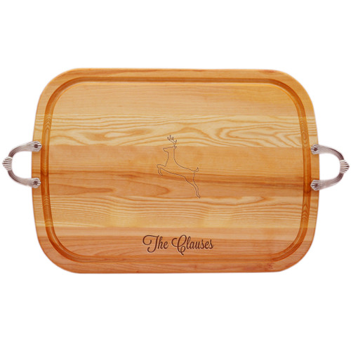 EVERYDAY COLLECTION: LARGE SERVING TRAY WITH NOUVEAU HANDLES PERSONALIZED REINDEER