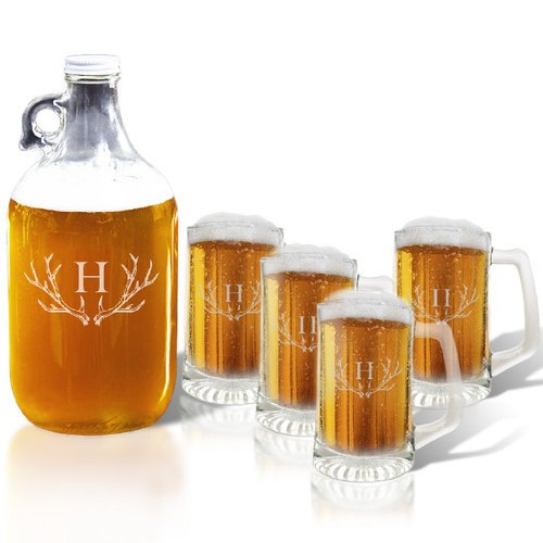 64oz GROWLER and SPORT MUG SET OF 4 MUGS: PERSONALIZED ANTLER MOTIF