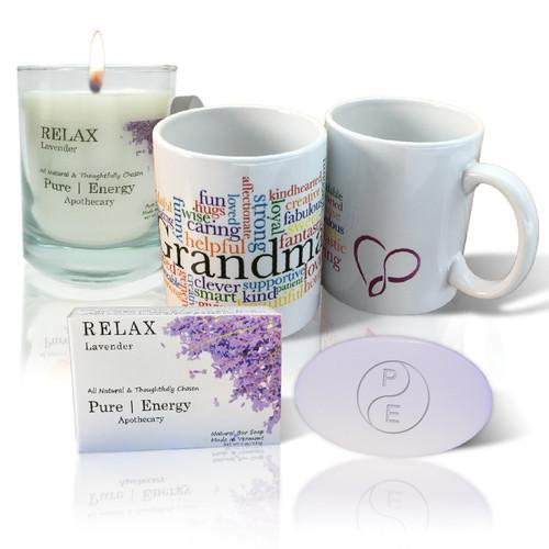 Pure Energy Apothecary Lavender Soap, Candle and Grandma Mug Set