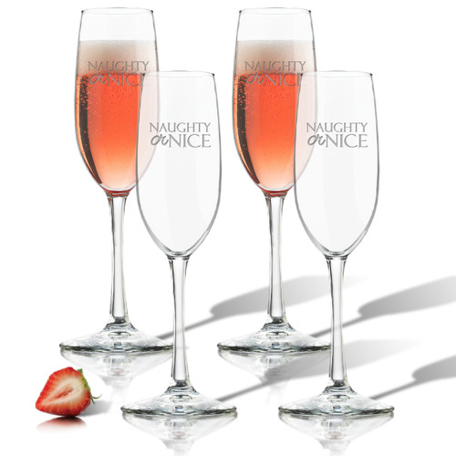NAUGHTY OR NICE CHAMPAGNE FLUTE SET OF 4 (GLASS)