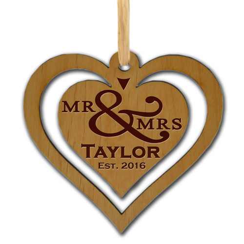 DOUBLE HEART PERSONALIZED WOODEN ORNAMENT